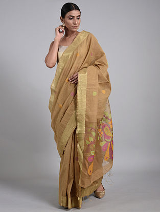 Brown Handwoven Matka Silk Saree