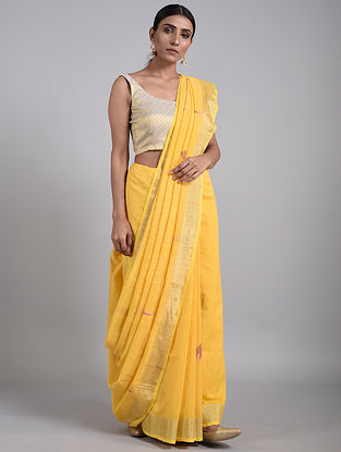 Yellow Handwoven Matka Silk Saree