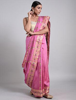 Pink Handwoven Baluchari Silk Saree