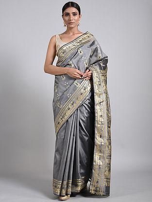Grey-Black Handwoven Baluchari Silk Saree