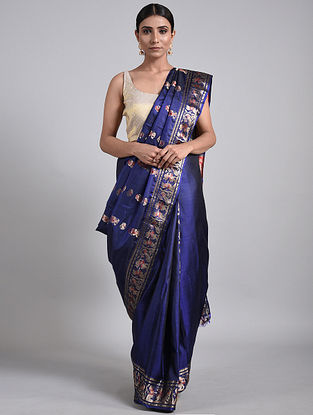 Blue Handwoven Baluchari Silk Saree