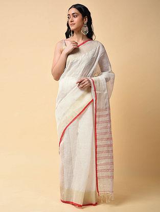 White-Red Handwoven Jamdani Linen Saree