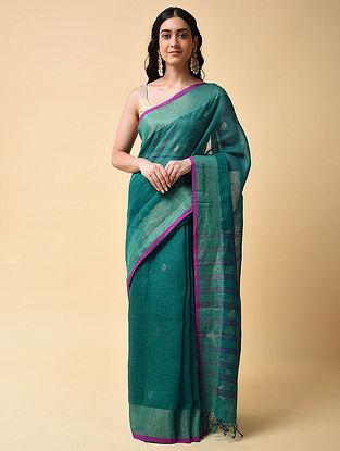 Green Handwoven Jamdani Linen Saree