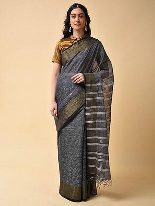 Grey Handwoven Jamdani Linen Saree