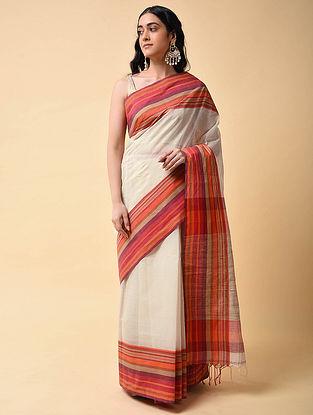 White-Orange Handwoven Cotton Saree