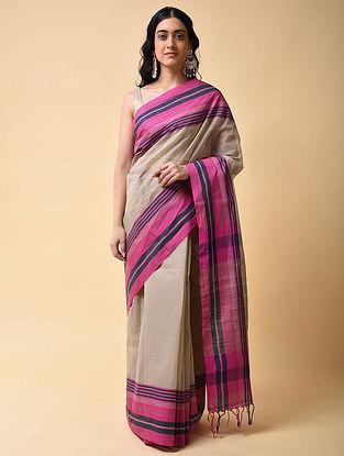 Beige-Pink Handwoven Cotton Saree