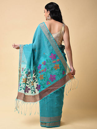 Blue-Purple Handwoven Jamdani Khadi Saree