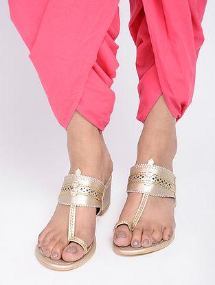 Silver Leather Kohlapuri Box Heels