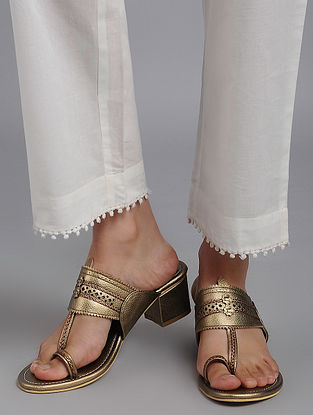 Dull Gold Kolhapuri Leather Block Heels
