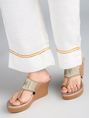 Champagne-Tan Handcrafted Leather Kolhapuri Wedges
