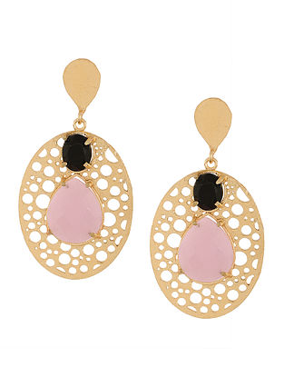 Rose Quartz and Black Onyx Gold-plated Earrings