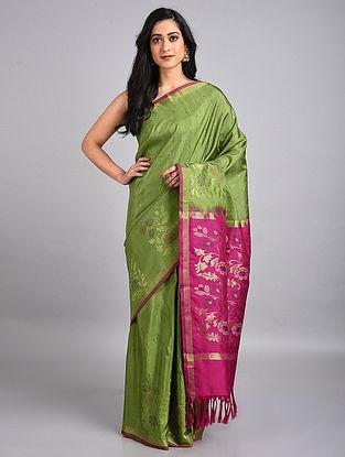 Green-Pink Handwoven Uppada Silk Jamdani Saree