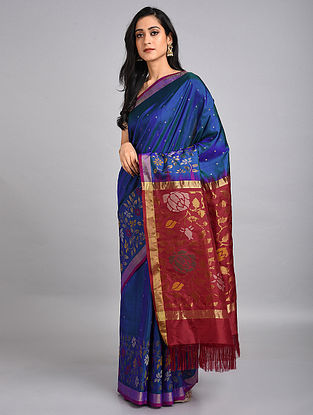 Royal Blue-Red Handwoven Uppada Silk Jamdani Saree