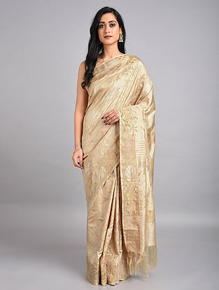 Beige-Golden Handwoven Uppada Silk Jamdani Saree