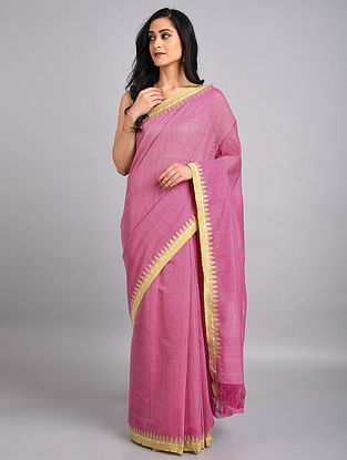 Pink Handwoven Cotton Saree with Temple Border
