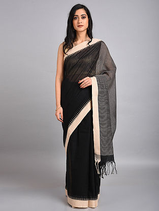 Black-Ivory Handwoven Cotton Saree with Temple Border