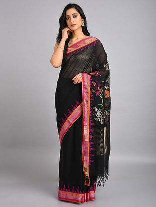 Black-Pink Handwoven Jamdani Cotton Saree with Temple Border