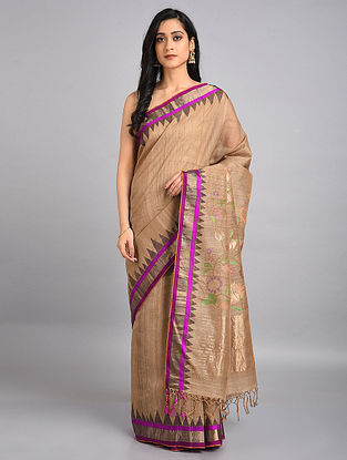 Beige-Pink Handwoven Jute Tussar Silk Jamdani Saree with Temple Border