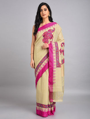 Beige-Pink Handwoven Cotton Saree with Kani Applique Work