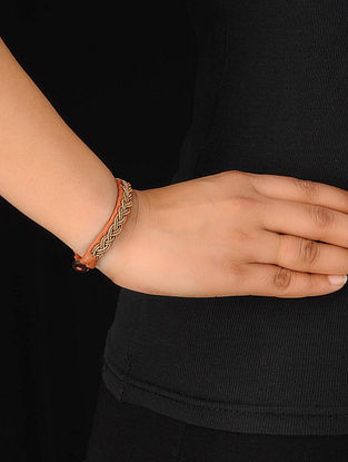 Orange-Gold Zardosi Bracelet