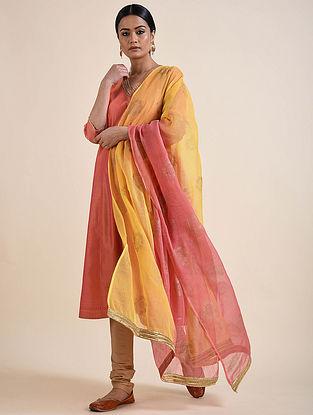 Yellow-Pink Rogan Printed Kota Doria Dupatta