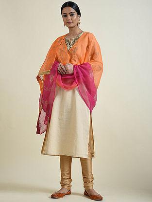 Orange-Pink Rogan Printed Kota Doria Dupatta