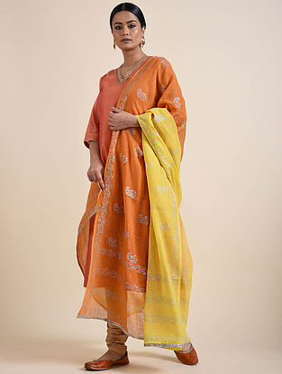 Orange-Yellow Rogan Printed Kota Doria Dupatta
