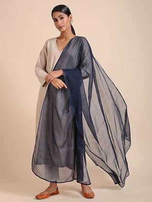 Blue Kota Doria Dupatta with Mukaish Work
