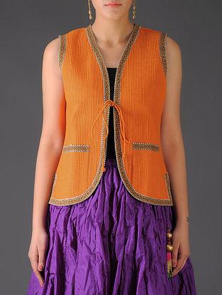 Orange - Maroon Ajrakh Detailed Reversible Sleeveless Jacket