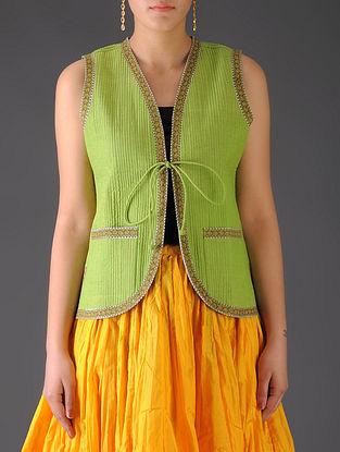 Lime Green - Teal Ajrakh Detailed Reversible Sleeveless Jacket