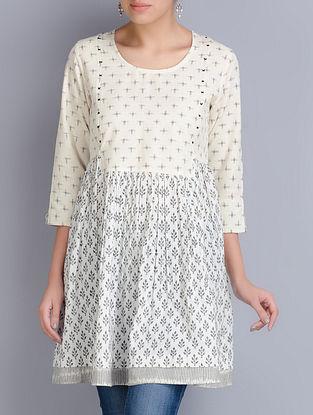 Cream-White Block Printed Ikat Cotton Tunic