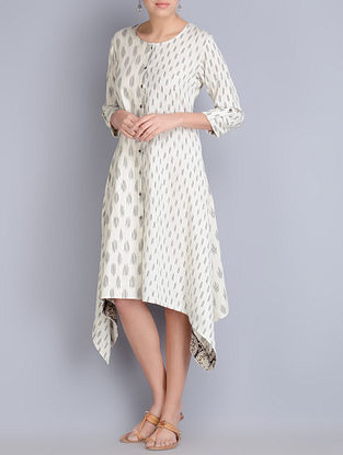 Cream Asymmetrical & Roll-Up Sleeves Ikat Cotton Dress