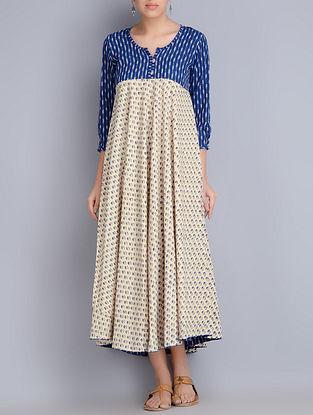 Indigo-Cream Block Printed Ikat Cotton Dress