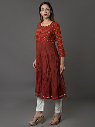 Red Hand-embroidered Ajrakh-printed Cambric Kurta