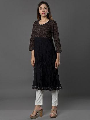 Black Hand-embroidered Ajrakh-printed Cambric Kurta