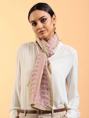 Beige-Pink Printed Habutai Silk Stole