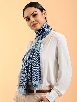 Blue-White Printed Habutai Silk Stole