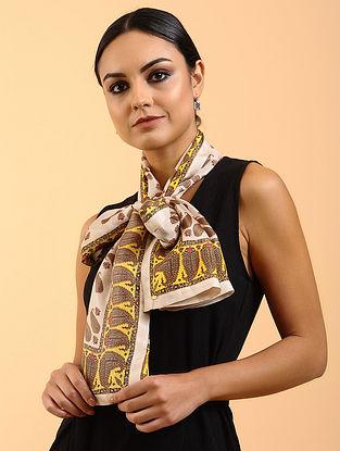 Ivory-Yellow Printed Habutai Silk Stole