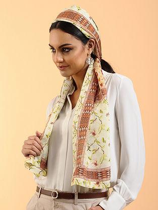 Ivory-Brown Printed Habutai Silk Stole