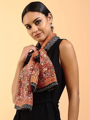 Brown-Black Printed Habutai Silk Stole