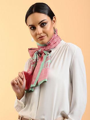 Pink-Green Printed Habutai Silk Stole