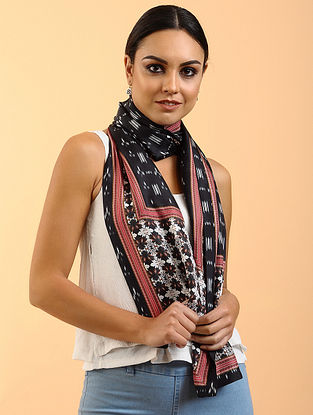 Black-White-Red Printed Habutai Silk Stole