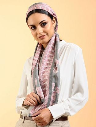 Grey-Pink Printed Habutai Silk Stole