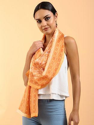 Orange Printed Habutai Silk Stole