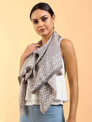 Beige-Grey Printed Habutai Silk Stole