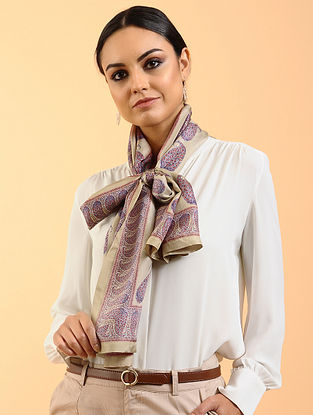 Beige Printed Habutai Silk Stole