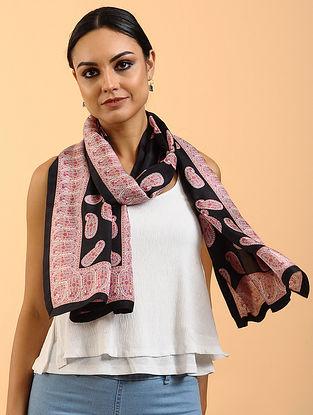 Black Printed Habutai Silk Stole