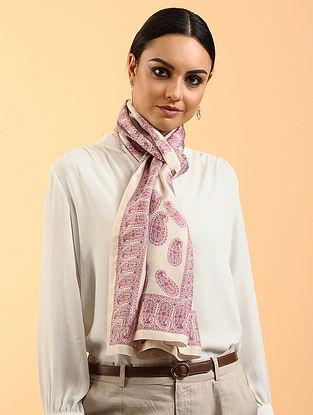 Cream-Pink Printed Habutai Silk Stole