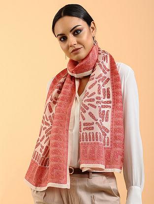 Red-Pink Printed Habutai Silk Stole