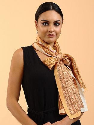 Brown Printed Habutai Silk Stole